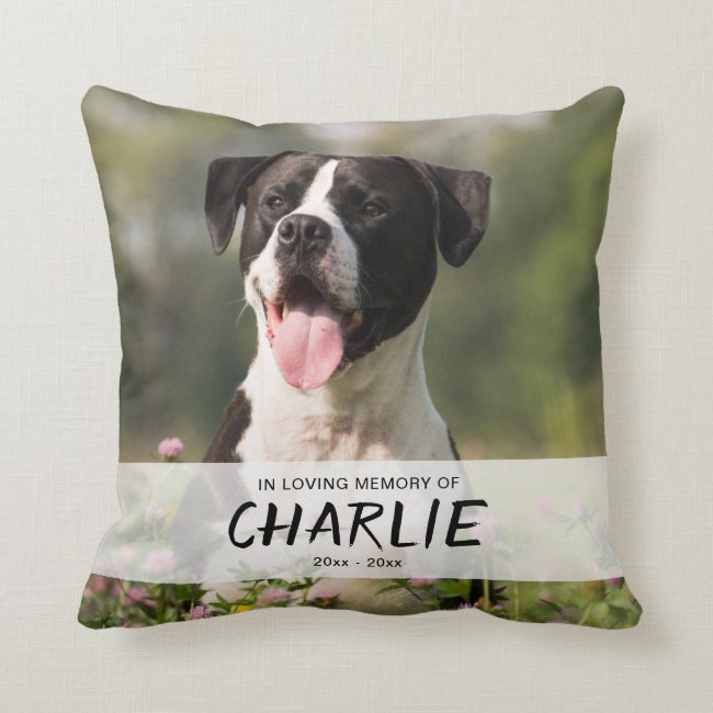In Loving Memory of Pet Personalized Name Photo Throw Pillow
