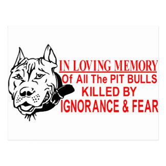 IN LOVING MEMORY OF PIT BULLS POST CARDS