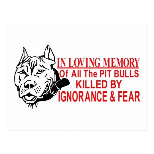 IN LOVING MEMORY OF PIT BULLS POSTCARD