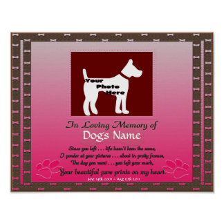 In Loving Memory of Your Dog Pink Female Dog Poster