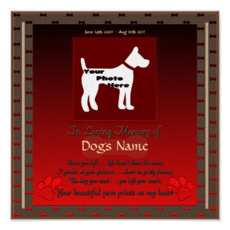 In Loving Memory of Your Dog (red) Canvis Poster