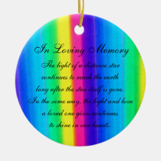 In Loving Memory Pastel Rainbow Death Memorial Double-Sided Ceramic Round Christmas Ornament