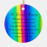 In Loving Memory Pastel Rainbow Death Memorial Christmas Tree Ornaments