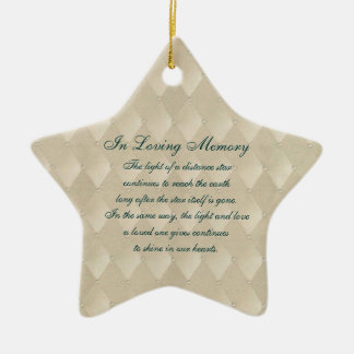 In Loving Memory Pearls and Diamonds Death Memoria Double-Sided Star Ceramic Christmas Ornament
