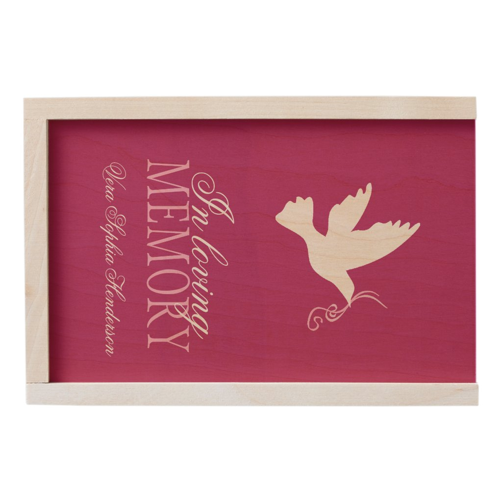 In loving memory personalized dove of peace box