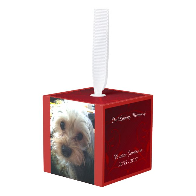 In Loving Memory Personalized Pet Loss Photo Red