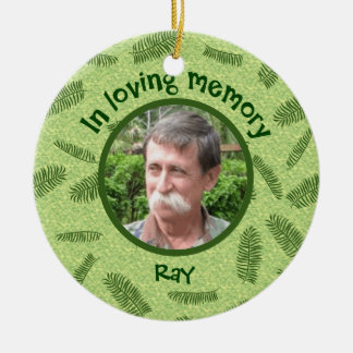 In Loving Memory Personalized Photo Palms Memorial Double-Sided Ceramic Round Christmas Ornament