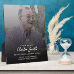 "In Loving Memory: Photo and message on easel stand Plaque<br><div class=""desc"">Personalize this plaque on an easel with your own photo and message to pay tribute to a loved one who has passed away. All text is easy to customize.</div>"