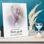 """In Loving Memory: Photo and message tribute Plaque<br><div class=""""desc"""">Personalize this plaque on an easel with your own photo and message to pay tribute to a loved one who has passed away. All text is easy to customize.</div>"""