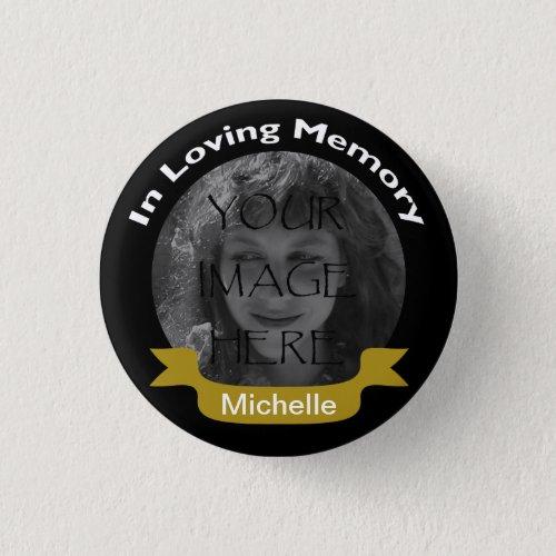 In Loving Memory Photo BlackGold Button