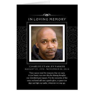 In Loving Memory Photo Black Greeting Card