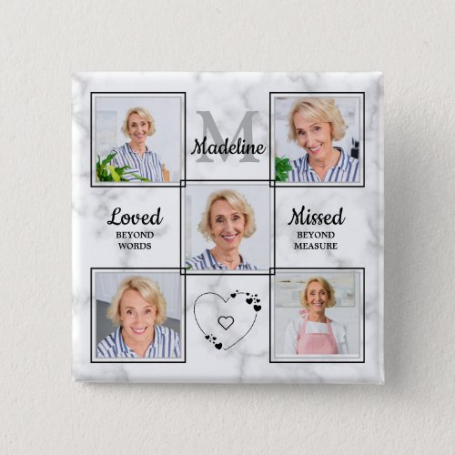 In Loving Memory Photo Collage Memorial Funeral Button