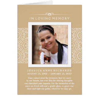In Loving Memory Photo Elegant Gold Thank You Card