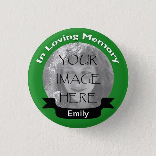 In Loving Memory Photo Green Button