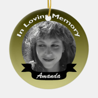 In Loving Memory Photo Ornament Gold Black
