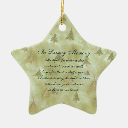 In Loving Memory Pine Fir Trees Death Memorial Double-sided Star Ceramic Christmas Ornament