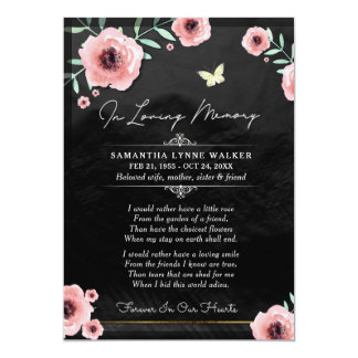 In Loving Memory Pink Black Floral Thank You Card