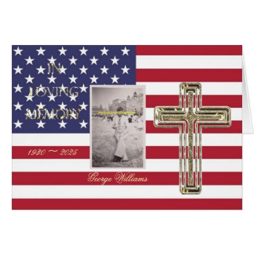 In Loving Memory Religious Golden Cross Photo USA Card