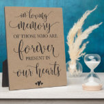 """In Loving Memory Remembrance Wedding Ceremony Sign Plaque<br><div class=""""desc"""">Rustic kraft memorial sign for your wedding reception!</div>"""