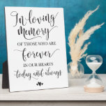 """In Loving Memory Remembrance Wedding Ceremony Sign Plaque<br><div class=""""desc"""">Modern memorial sign for your wedding celebration to honor those who have passed on.</div>"""