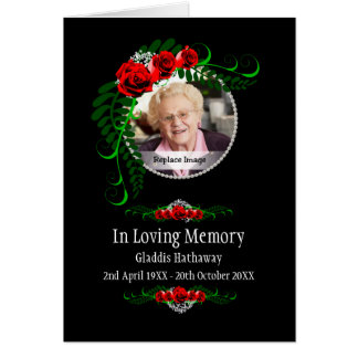 In Loving Memory Roses Pearls Bereavment Memorial Card