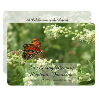 In Loving Memory Service Invitation, Butterfly Card