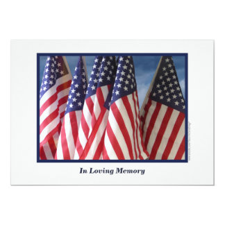 In Loving Memory Service Invitation, Flags 5x7 Paper Invitation Card