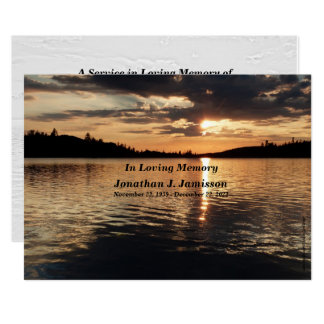 In Loving Memory Service Invitation Sunset at Lake