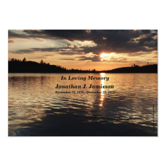 "In Loving Memory Service Invitation Sunset at Lake 5"" X 7"" Invitation Card"