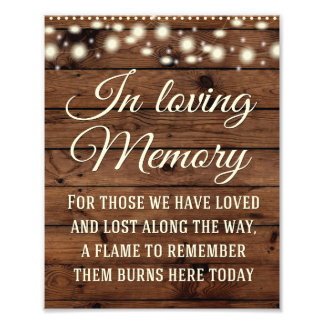 In Loving Memory Sign, Wedding Decor, Wedding Sign