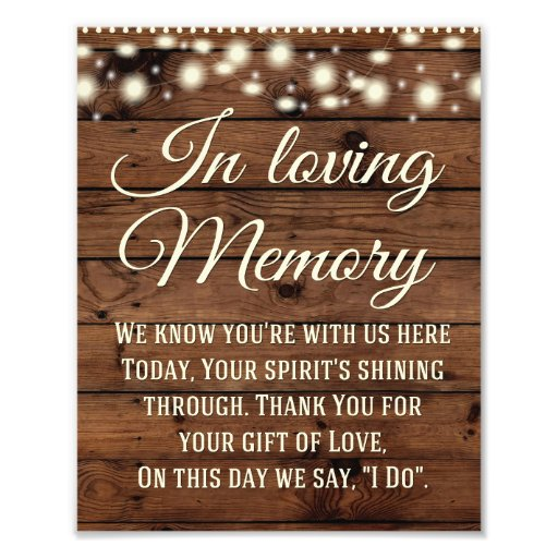 In Loving Memory Sign, Wedding Sign, Wedding Decor Photo Print