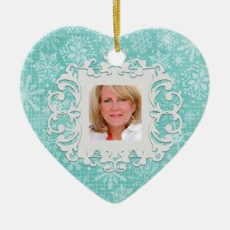 In Loving Memory Snowflake Personalized Photo Ceramic Ornament