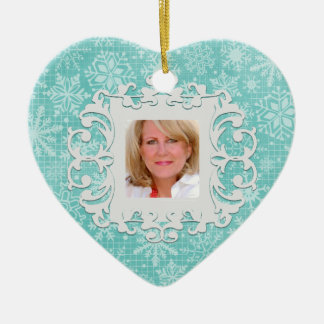 In Loving Memory Snowflake Personalized Photo Double-Sided Heart Ceramic Christmas Ornament