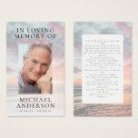 In Loving Memory Sunset Memorial Prayer Card