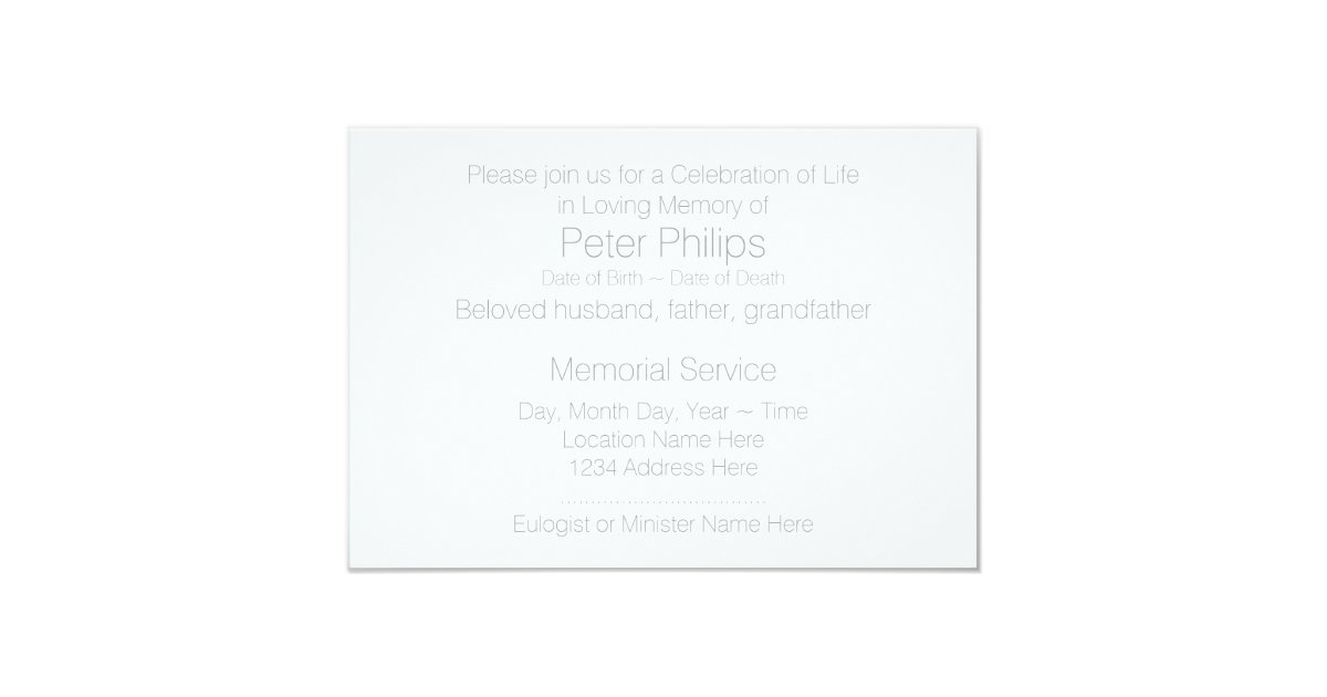 In loving memory template 7 celebration of life card zazzle for In memory cards templates