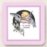 In Loving Memory Vintage Angel, Remembrance on Pin Beverage Coaster