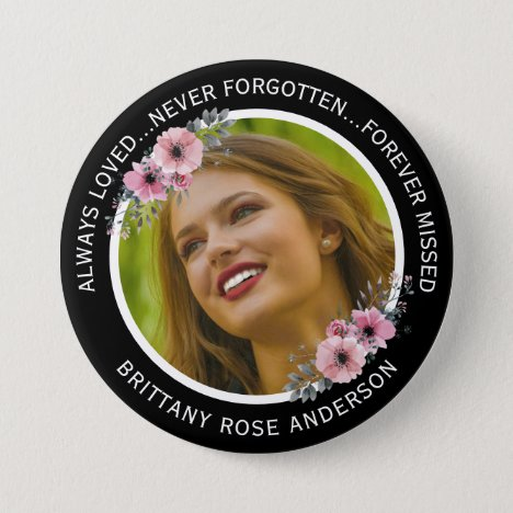 In Loving Memory Watercolor Floral Photo Memorial Button