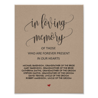 In loving memory Wedding Memorial Table Sign v2
