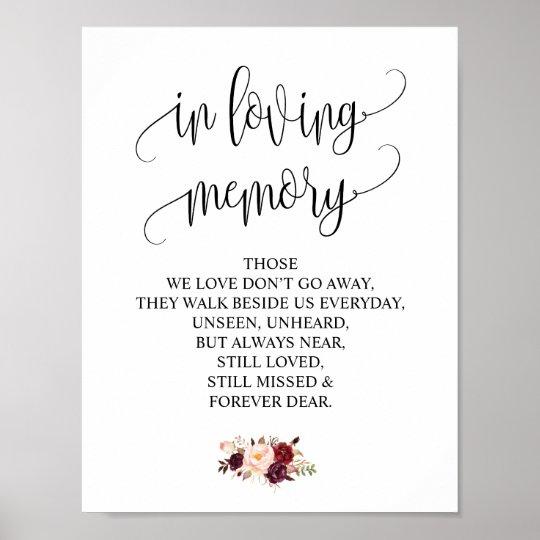 in loving memory wedding memorial table sign v4 zazzle com