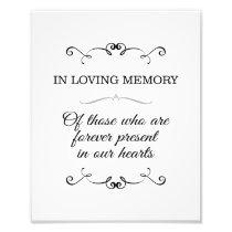 In Loving Memory Wedding Sign Photo Print