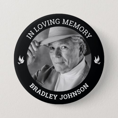In Loving Memory White Doves  Photo Memorial Button