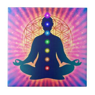 In meditation with Chakren - Artwork IV Ceramic Tile