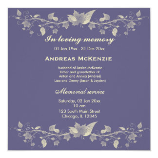 In Memoriam 5.25x5.25 Square Paper Invitation Card