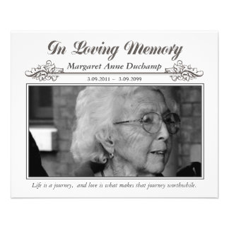 In Memoriam Loving Memory Funeral Photo Hand Out Custom Flyer
