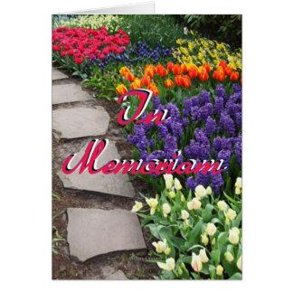 In Memoriam Stone Path Through Garden Of Flowers Card