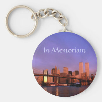 """""""in Memoriam"""" Twin Towers World Trade Center NYC Basic Round Button Keychain"""