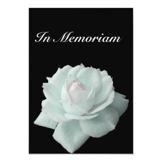 In Memoriam White Rose on Black Invitation