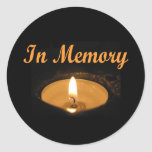 In Memory Candle Glow Round Sticker