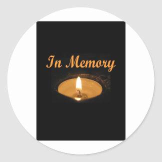 In Memory Candle Glow Round Stickers