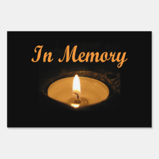 In Memory Candle Glow Yard Sign